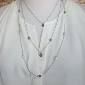 New Lucky Brand Pave Pearl Layered Necklace